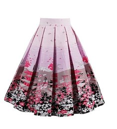 Vintage 1950s Womens Spring Summer Floral Print Skirt Plus Size A-line Cotton And Spandex petticoat rockabilly Wish women skirts
