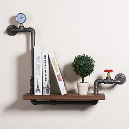 Wholesale Industrial Pipe Creative Separator Bookcase Loft Wall Iron Hanging Book Shelf Art Display Decorative Wall Shelves FJ ZN1Y A0