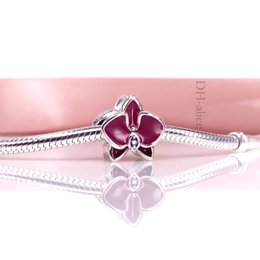 Factory Price Authentic 925 Sterling Silve Bead Orchid Charm With Purple Enamel Fit European DIY Bracelet Necklace Jewelry 792074EN69