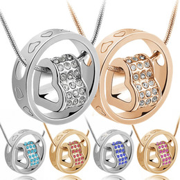 Wholesale Women s Fashion Crystal Chain Rhinestone Gift Love Heart Pendant Necklace Silver Gold Ring Necklaces For Wife Daughter