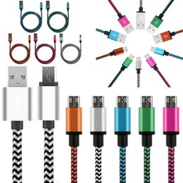 Fabric Nylon Braid Micro USB Charger Cord Head Metal Cell Phone Cable For Samsung HTC Android Phone