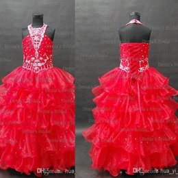 2015 New Red Halter A Line Ball Gown Lace Up Organza Floor Length Flower Girls' Pageant Dresses with Beaded Dhyz 01