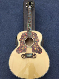 Wholesale New Factory Chibson J200 acoustic guitar super deluxe J200 flame maple body acoustic guitar with all real abalone inlay