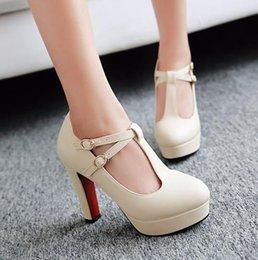 Promotion taille 34 talon rose T-Strap femmes pompes 2016Brand épais talon talons hauts chaussures de plate-forme femme blanc chaussures de mariage rose plus la taille 34-43