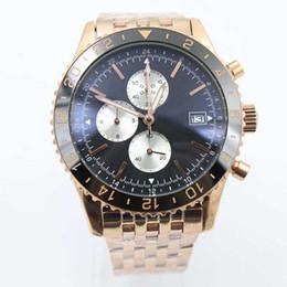 Wholesale - Fine Quality Rose Gold Belt Quartz Chronograph Men's Wristwatch Black Face&Bezel Tis Certified Male Watch 1884