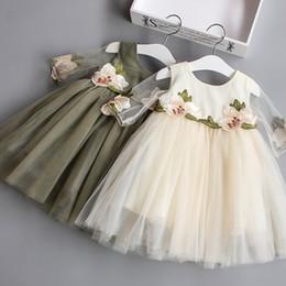 Faldas para las muchachas de los niños en venta-El vestido lindo de la falda de Sweety de la muchacha del niño de los vestidos de las muchachas de los cabritos de 2017 embroma el vestido de los niños del partido de la princesa bordada flor de la falda 5 PC / porción B