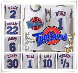 Wholesale Stitched Movie Space Jam Tune Squad White Jersey Men Michael Curry James Bugs Shirt Sport Promotion Cheap HOT