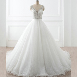 Sparkly Wedding Gowns A Line Sheer V Neck Sleeveless Beading Top Illusion Back Sequined Tulle Bling Bling Bridal Dresses