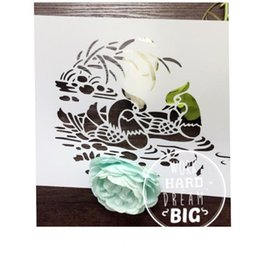 DIY stencil -wholesale laser cut stencils Masking template For Scrapbooking album drawing and more-Mandarin duck and fish 190