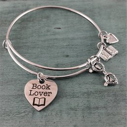 12pcs Book Lover Adjustable Bangle Bracelet Bangle Charm bracelet, Handmade Jewelry Charm Bracelet