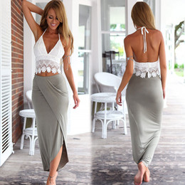 Women's split vest skirt suit white lace Vest + gray high waist skirt two-piece fashionable sexy leisure sling beach holiday vest skirt suit