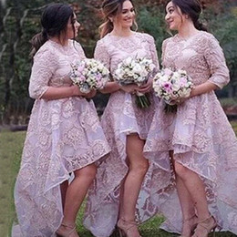 Gorgeous Lilac High Low Bridesmaid Dresses Jewel Neck 3 4 Sleevels Lace Appliques Organza Short Front Long Back Bridesmaids Gowns Custom