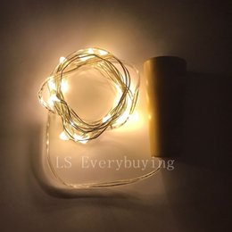 Promotion verre bouchons de vin 2M20LED lampe en liège bouchon en forme de bouteille Verre en verre léger LED argent chaîne de fils de lumières pour Noël Party Supplies Mariage Halloween