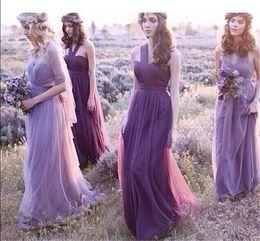 Wholesale 2017 Purple Tulle vestidos largos de la dama de honor de los vestidos del baile de fin de curso Vestidos de boda elegantes de la gasa y del halter del resorte de las muchachas de la manera