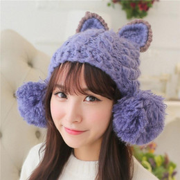 Wholesale Winter Fashion Beanie Classic Cat Knitted Fur Big Ball Poms Hat Women Cap Winter Beanie Headgear Headdress Head Warmer Top Quality Y422