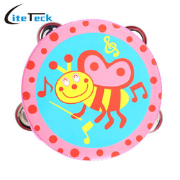 Wholesale Baby Kids Wooden Drum Rattles Toy Tambourine Gift inch Hand Held Tambourine Drum Bell