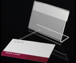 Promotion tableau acrylique clair Acrylique T1.3mm Effacer L Formulaire Tableau Signe Tag Label Papier Stand Display Promotion nom Card Desk cadre étiquette affichage titulaire 20pcs