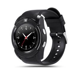 Complète android en Ligne-Bluetooth V8 Smartwatch Sport Montre Smart pour Android Smartphone Support plein écran Micro Carte SIM TF Silicone Bracelet Horloge