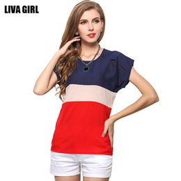 Wholesale 2017 New Fashion Summer Women Plus Size Striped Loose Short Sleeves Chiffon Shirt Blue Woman Casual Blouse T-shirt