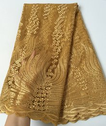 Real Gold Elegant soft french lace fabric African tulle lace fabric with lots of stones big shining material