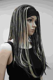 High quality Fashion Light Brown  Light Golden Blonde 3 4 wig with headbands straight long braid half Braids Women's wig