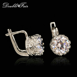 CZ Diamond Vintage Stud Earrings Silver Crown Si18K White Gold Plated Fashion Brand Round Rhinestone Jewelry For Women Gift Wholesale DFE611