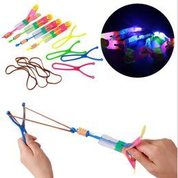 Wholesale SST Flashing Sling shot Slingshot Children Toys LED Light Slingshot Flying Arrow Catapult Outdoor Toy Kids Boys Gift