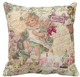 Fille chat cru à vendre-Vintage mignon élégant victorienne fille chat rose floral Throw Pillow Case, Sofa Coussins Case, Car Oreiller