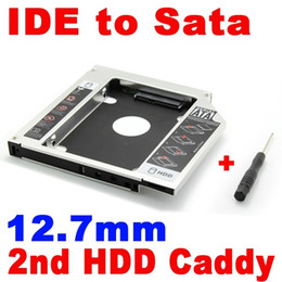 Caja del carrito de disco en Línea-Venta al por mayor- 5pcs Universal 12.7mm SATA a IDE 2nd HDD caddy disco duro conductor de aluminio caso CD DVD adaptador óptico Bay Adapter para Notebook