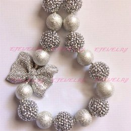 Rhinestone silver sparkle bubblegum necklace with bow birthday. Baptism CB564