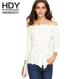 Wholesale HDY Apparel Slash Neck Front Bowknot Blouse Wavy Edge Neck Sleeve Shirts Off Shoulder Tie Waist Chic Tops Women Clothes