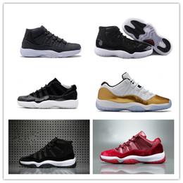 Promotion chaussures de sport pas cher 2017 nouveau rétro chaussures de basket-ball 11 homme bas 72-10 redblack baskets d'heritie chaussures de sport bon marché de haute qualité athlétique pour homme taille 8-13