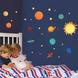 Wholesale Solar System wall stickers for kids rooms Stars outer space sky wall decals planets Earth Sun Saturn Mars poster Mural