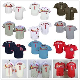 St. Louis Cardinals #1 Ozzie Smith Throwback 1992 O.Smith Baseball Jerseys White Black Blue Gray Red Cooperstown Mesh Batting Practice Cheap