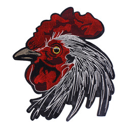 Red Crazy Ingenious Rooster Embroidery Patch Emblem Badge Crest Sew Iron On Backing Patch Applique Embroidery On Clothes Sticker Jacket Jean
