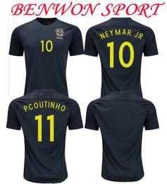 Wholesale Benwon Brazil away black soccer jerseys NEYMAR JR OSCAR WILLIAN football shirts best quality authentic football jerseys
