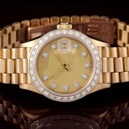 Wr s en venta-Relojes de lujo hombre relojes de moda al por mayor relojes de las mujeres 18K Presidente de las señoras de YG, reloj de los hombres mecánicos del dial del diamante de Champagne de la fábrica Wr