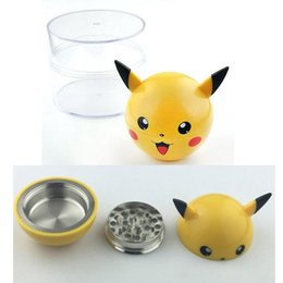 drop shipping Latest 3Layers Pikachu Herb Grinder Metal Zinc Alloy Smoke Tobacco Smoking 53mm With Display Box for glass bong water pipe