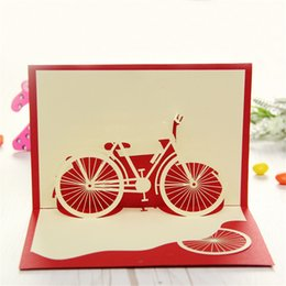 Wholesale 3D Paper Laser Cut Pop Up Handmade Post Cards Birthday Bike Bicycle Custom Gift Greeting Cards Souvenirs Party Supplies