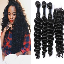 malaysian deep curly virgin hair with closure cheap malaysian curly hair bundles top quality 100% virgin human hair natural color