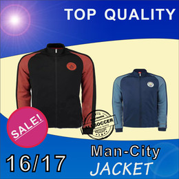 Wholesale 16 Man City two kinds jacket Mens top thailand quality soccer training jerseys soccer sweater Training clothes Soccer Jerseys
