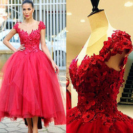 2017 Red Ball Gown Prom Party Dresses 3D Floral Appliques Hi Lo Chic Evening Dresses Tea Length Cap Sleeves Sheer Neck Arabic Gowns