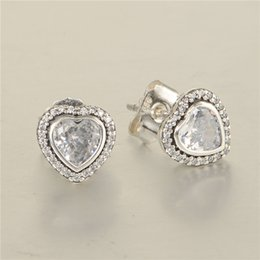 Wholesale Hearts earrings S925 Sterling silver earrings stud fits pandora style jewellery charms best quality