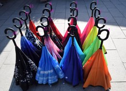 Wholesale Double Layer Inverted Umbrella Reverse Rainy Sunny Umbrella with C Handle Self Standing Inside Out Special Design CC multiple colors fashion