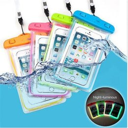 Luminous waterproof case dry bag light in dark with lanyard neck pouch clear water proof bag cases for 5.8'' iphone 8 7 plus samsung s7 s6