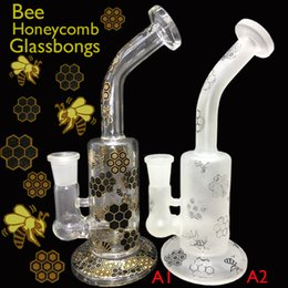 Wholesale 7 quot Heady White frosted bee honeycomb glass bongs Oil bongs Honeycomb Hand glass pipe bubbler glass water pipes glass bong