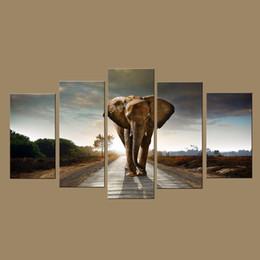 2016 фотографии панели Современные настенные печать на холсте Холст Слон Картина из цифровых изображений Печать на холсте Modern 5 Панель стены искусства для домашнего декора фотографии панели для продажи