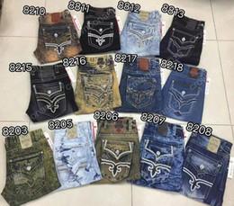 2018 new style Men Robin Rock Revival Jeans Crystal Studs Denim Pants Designer mens jeans Trousers Men's plus size 30-42