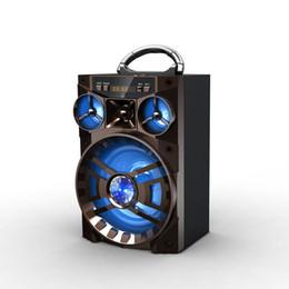 Boîte de haut-parleur de radio à vendre-Bluetooth extérieur Hifi haut-parleur Portable AUX cuboïde forme haut-parleurs Basse sans fil subwoofer Music Box avec USB LED TF FM Radio pour ipad