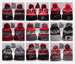 Wholesale 24 Colors New winter Hot Falcons Football Pom Atlanta Beanies Football Beanies Knit Beanie Hats Warm Winter Caps Sports Team Hats